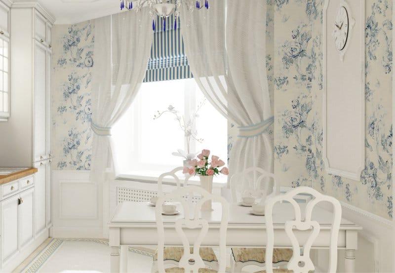 Белая кухня с голубыми обоями