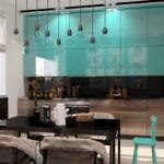 Бирюзовые фасады кухонных шкафов