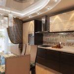 Дизайн кухни с коричневыми занавесками
