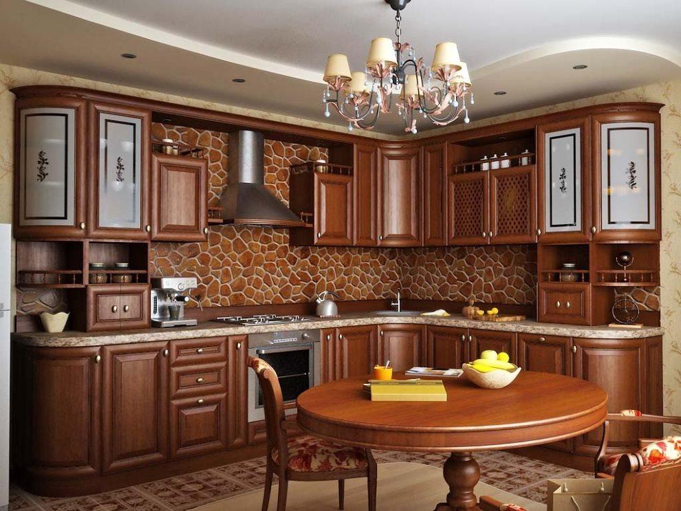 Угловая кухня в стиле классики с обеденным столом