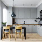 Красивая, стильная и уютная кухня в серых тонах