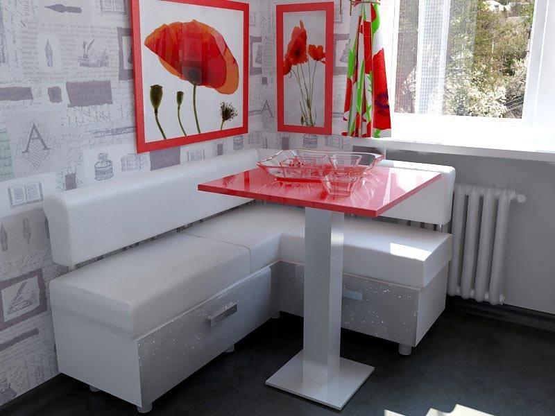 Кухонный уголок с компактным столиком красного цвета