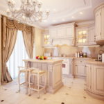 Дизайн кухни в светлых тонах с классической мебелью