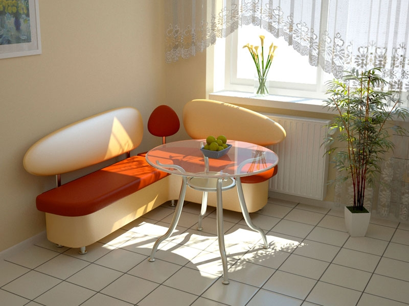 Компактная модель кухонного уголка для маленькой кухни