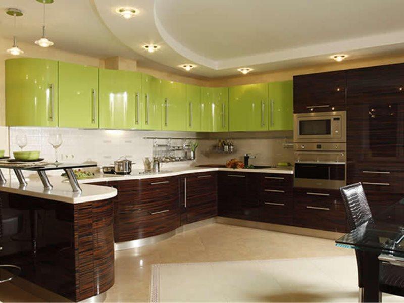 Кухонный гарнитур коричнево-салатового цвета в стиле модерна