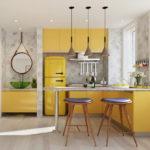 Кухня с маленькой площадью в желтом цвете