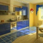 Кухня в сине-желтых цветах