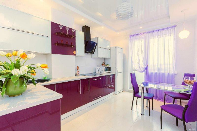Фиолетовый цвет в дизайне современной кухни