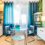 Необычная сине-зеленая кухня