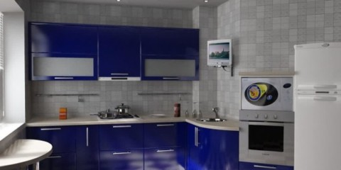 Оформление кухни в серо-счних тонах