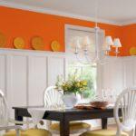 Отделка верха кухонных стен оранжевым цветом
