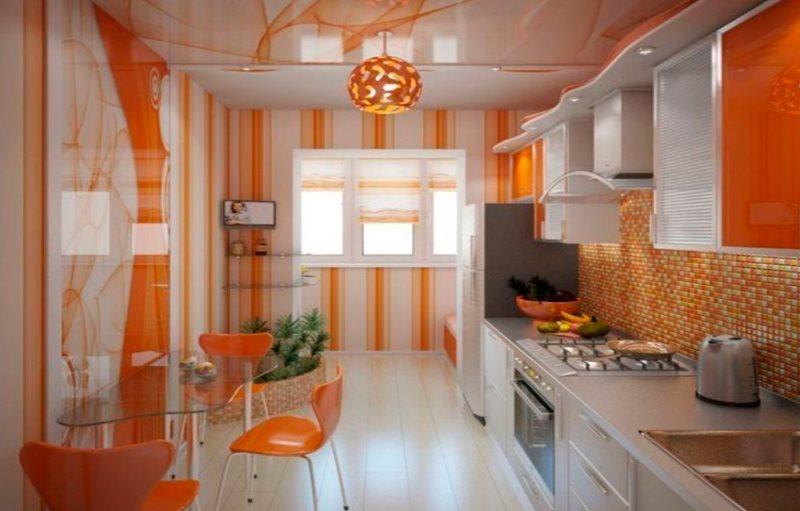 Виниловые обои с оранжевым принтом в интерьере кухни