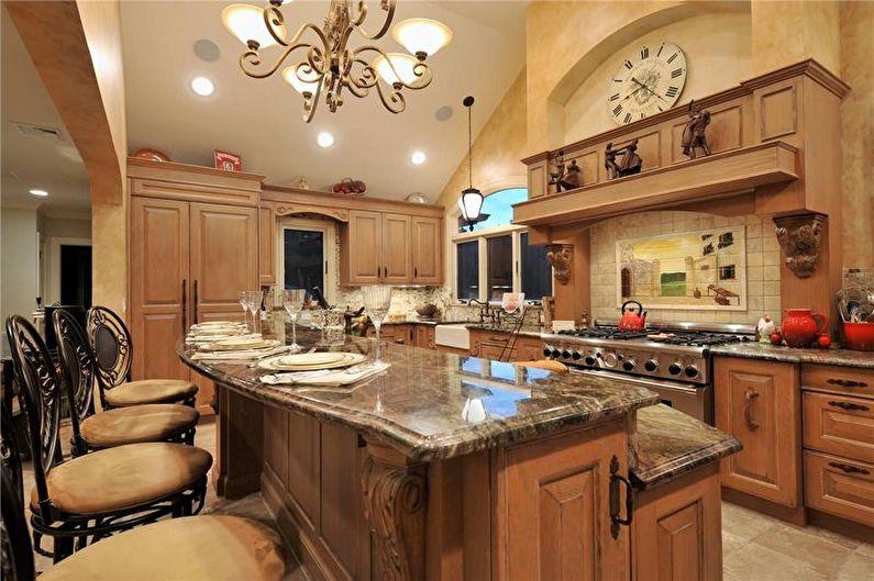 Освещение кухни в коричневом цвете с деревянной мебелью
