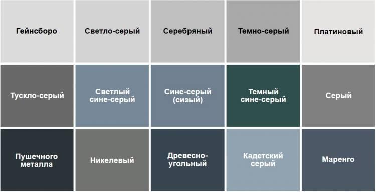 Цветовая палитра серых тонов