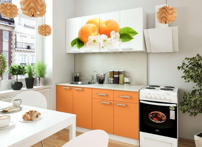 Фотопечать с персиками на фасаде кухонного гарнитура