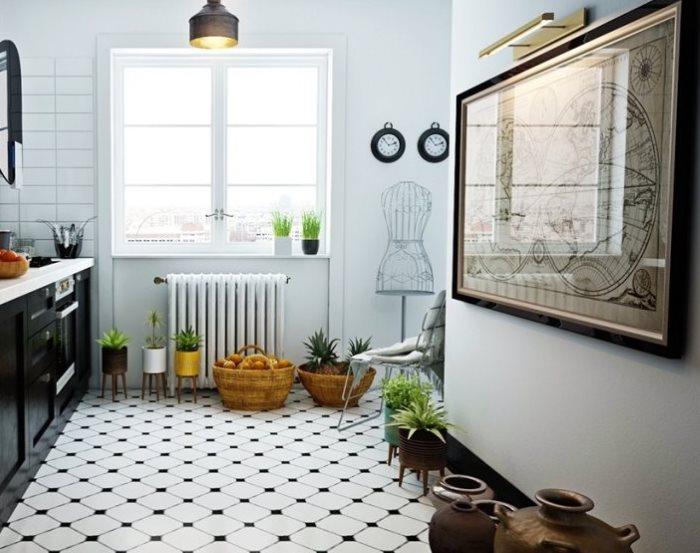 Черно-белый пол в кухне скандинавского стиля