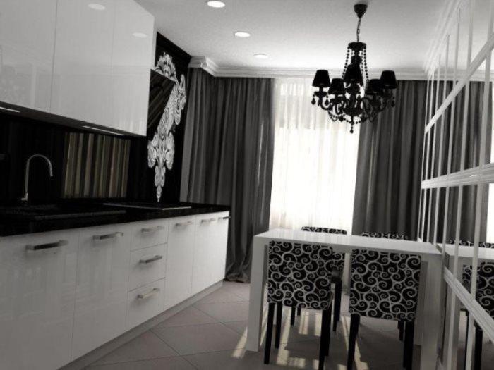 Плотные портьеры на кухонных окнах
