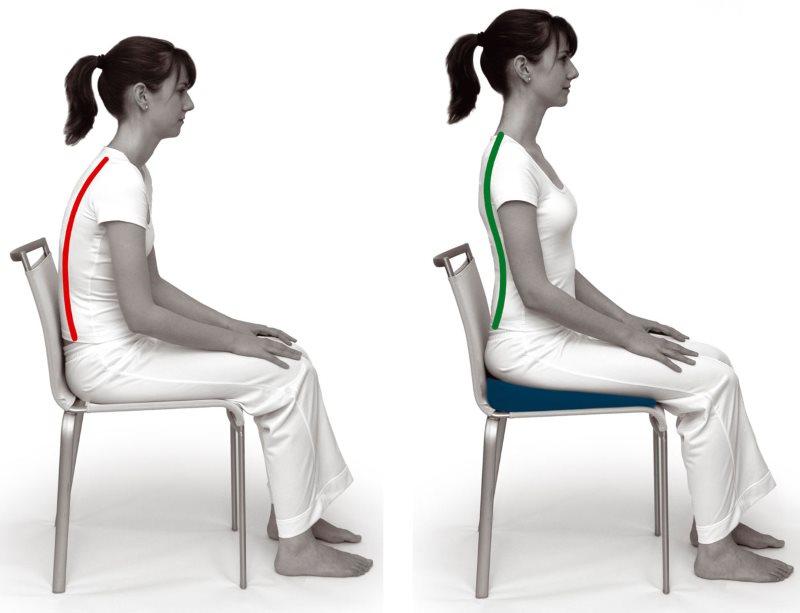 Корректирование осанки с помощью ортопедической подушки