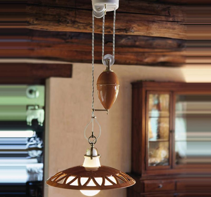 Потолочный светильник для кухни с механизмом регулировки высоты подвешивания