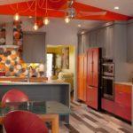 Сочетание серого цвета с красным в интерьере кухни