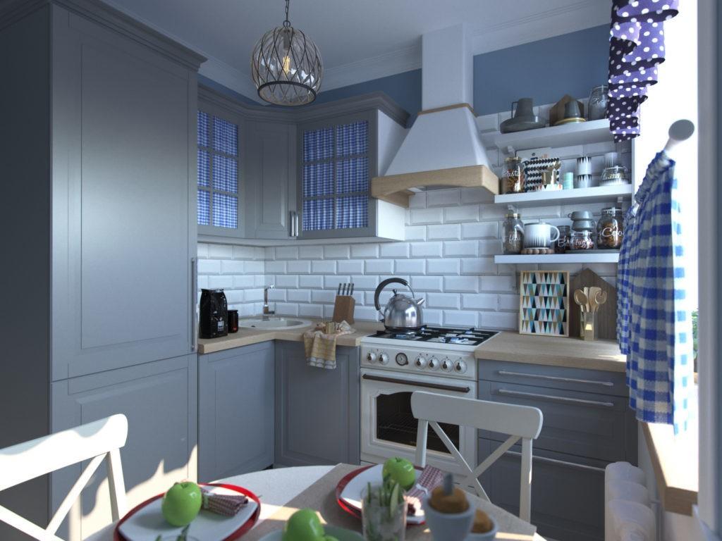 Дизайн маленькой серой кухни в стиле прованса