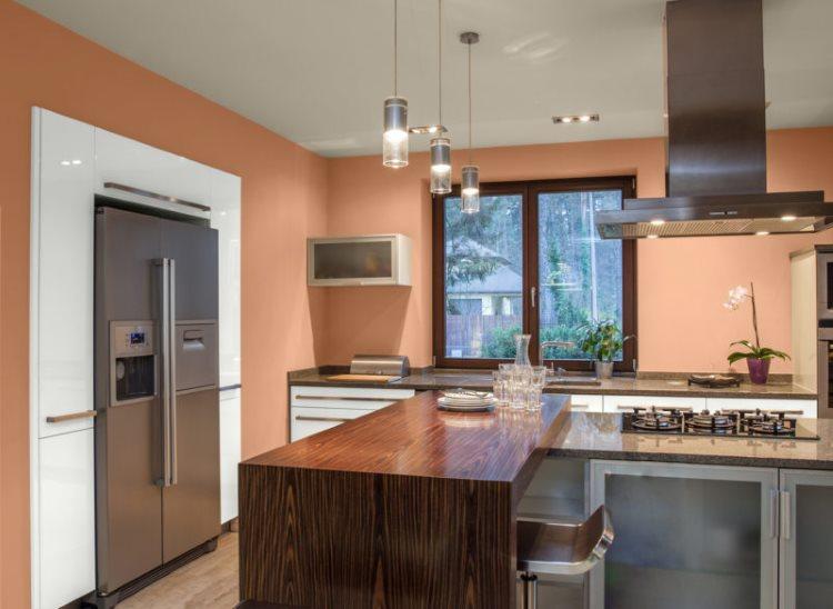 Серая бытовая техника в кухне с персиковыми стенами