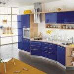 Синяя кухня из МДФ в стиле модерн