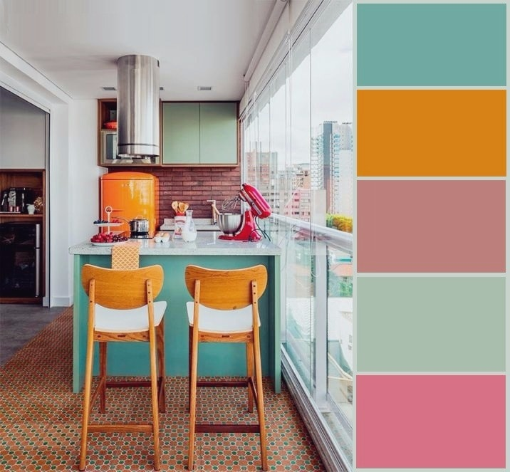 Схема гармоничной комбинации цветов в современной кухне