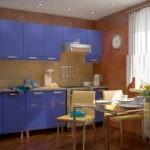 Сочетание голубого и песочного на кухне