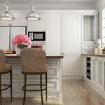Розовые цветы на столе в белой кухне