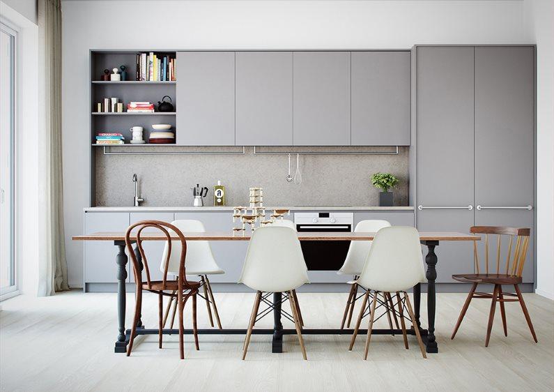 Линейный гарнитур серого цвета в кухне современного стиля