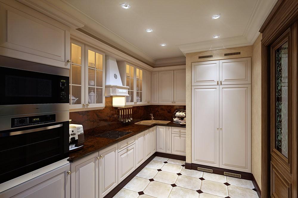 Точечные светильники на потолке кухни в стиле классики