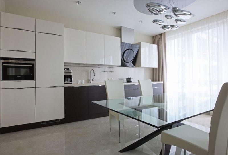 Линейна кухня в стиле минимализма в светлых тонах