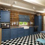 Темно-синяя мебель и синие шторы в клетку для кухни с отделкой деревом