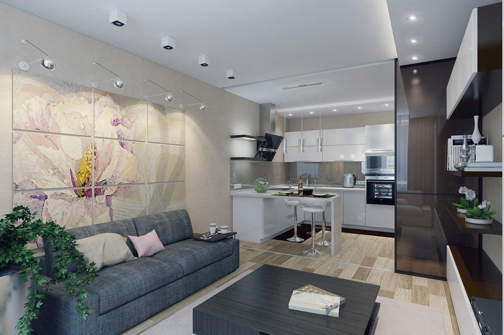 Серый прямой диван в кухне-гостиной
