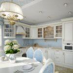 Голубой цвет в интерьере кухни стиля прованс
