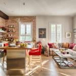 Угловой диван на кухне в стиле лофт