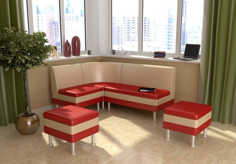 Красно бежевая обивка на мягкой мебели для кухни