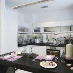 Черная барная стойка в светлой кухне