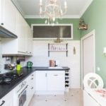 Узкая кухня с зелеными стенами