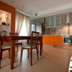 Оранжевый цвет в декоре кухни
