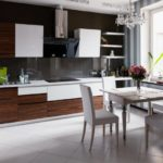 Черная стена в кухне городской квартиры
