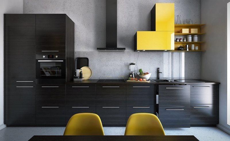 Линейная кухня с черными фасадами и желтый шкафчик