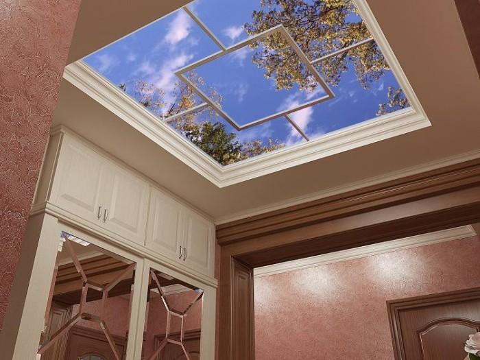 3Д потолок из пластиковых панелей.