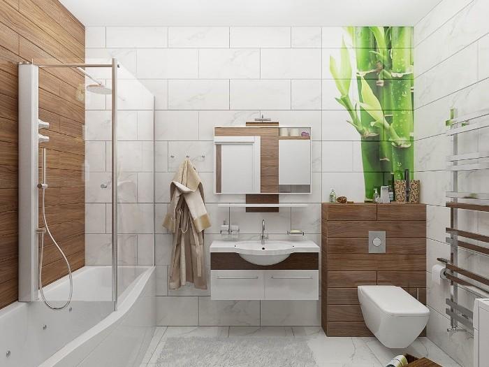Имитация дерева в ванной.