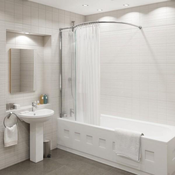 Дизайн ванной с карнизом.