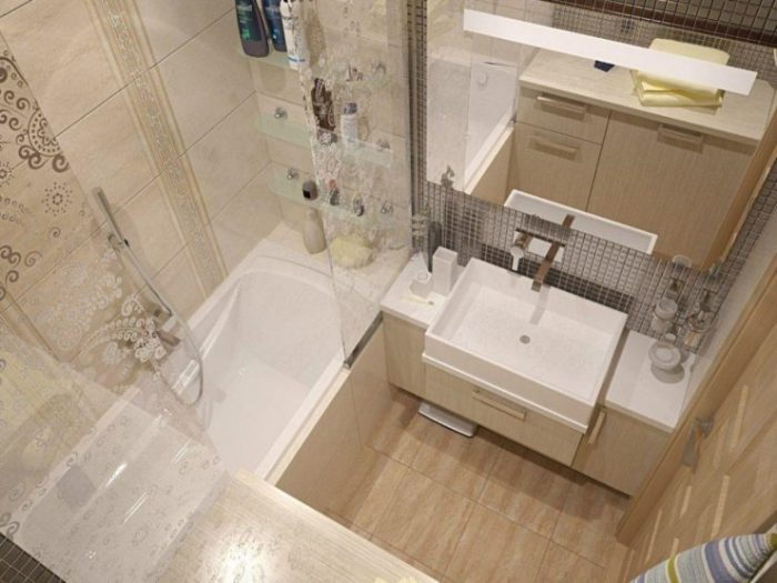 Роль бежевого цвета в ванной.