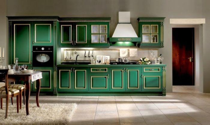 Зеленый цвет кухни.