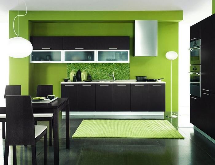 Зеленая кухня интерьер.