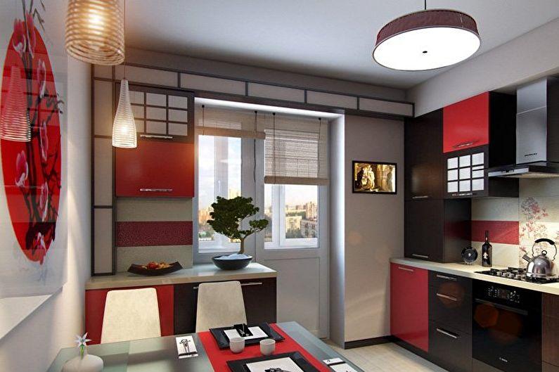 Дизайн красно-черной кухни в японском стиле